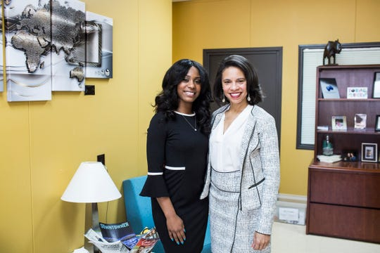 Alandas Dobbins, founder and president of Oteka Technologies, right, poses with her daughter, Rasie Dobbins-Turner, business development specialist, on March 14, 2019, at Oteka Technologies in Whitehaven.