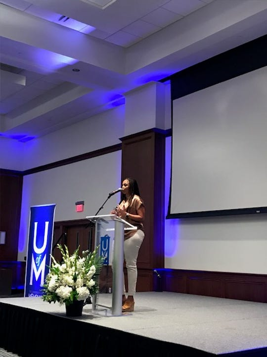 Jemele Hill speaks Tuesday, March 12, at the University of Memphis' University Center
