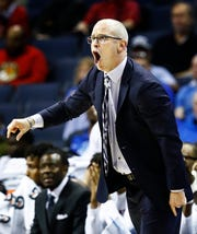 UConn head coach Dan Hurley on the sidelines during action against South Florida in their first round AAC Tournament game at the  FedExForum, Thursday, March 14, 2019.