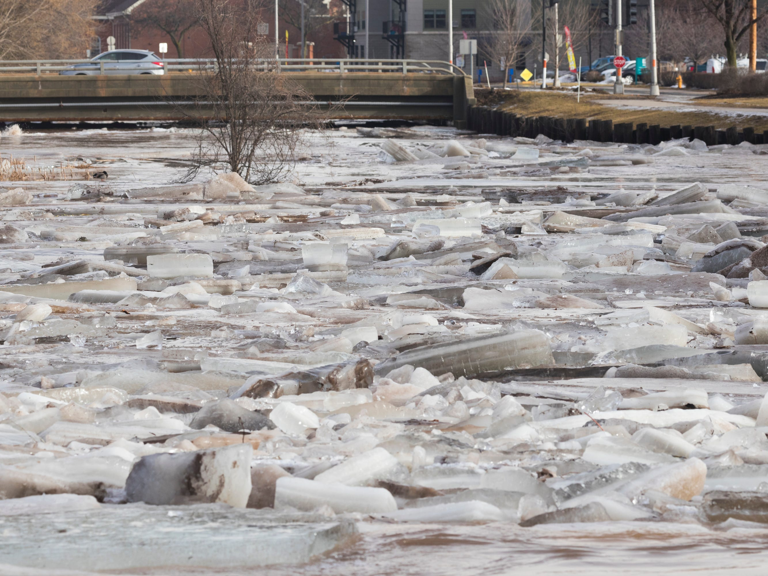 Ice jams on the Fond du Lac River cause flooding Thursday near downtown Fond du Lac.