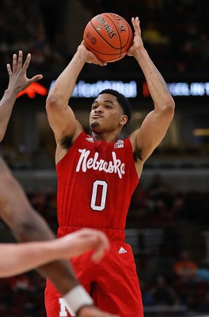 Nebraska's James Palmer shoots against Maryland at the United Center on Thursday in Chicago. Palmer had 24 points.