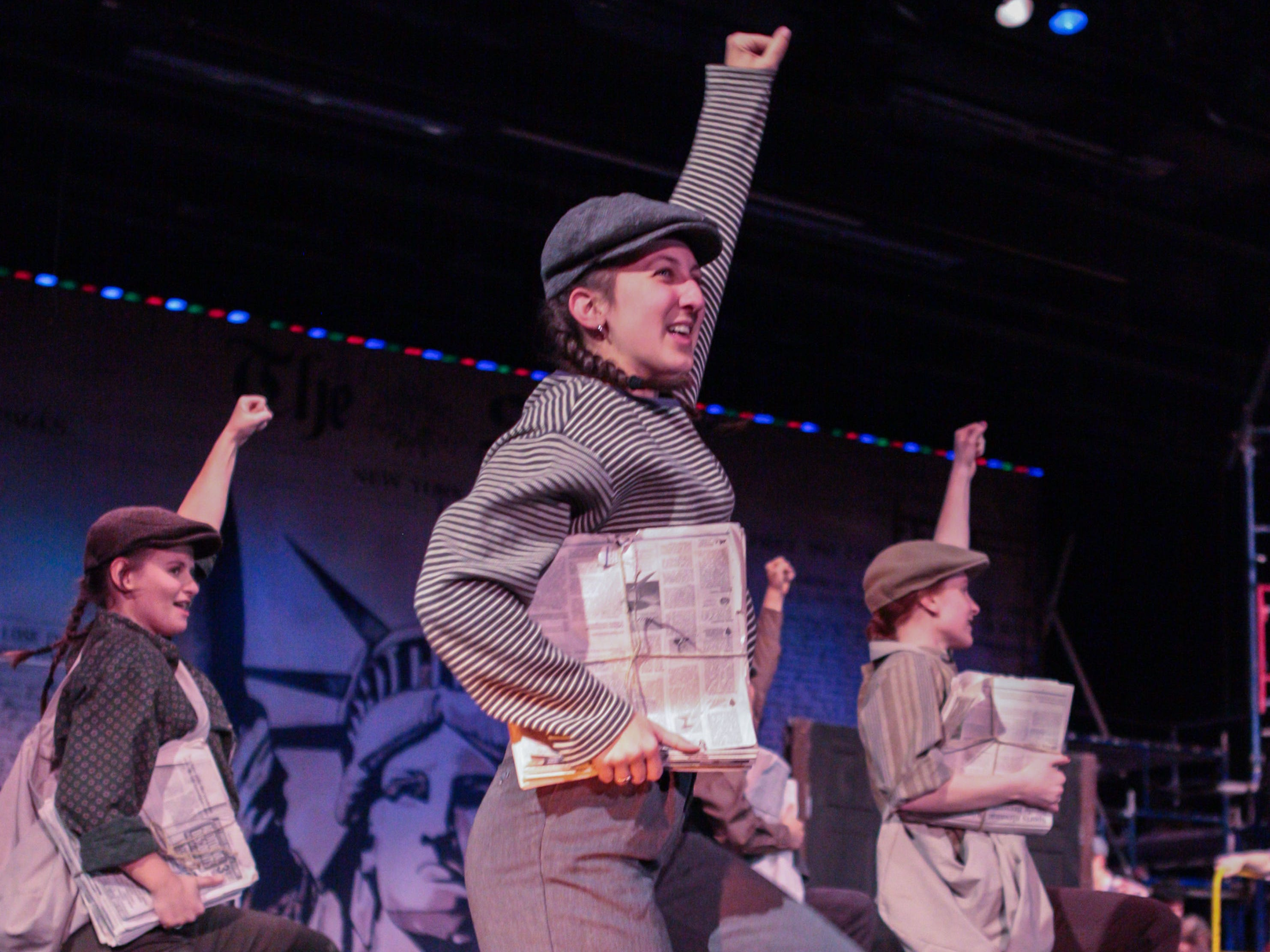 Greendale High School drama students perform a scene from their spring musical NEWSIES. Public performances are at 7:30 p.m. March 15 and 16. Tickets are $10 for adults and $8 for students 18 and under. For more info visit bit.ly/greendalenewsies.