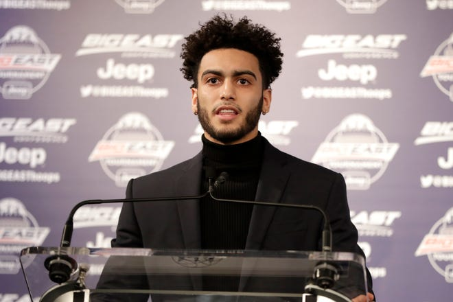 Marquette guard Markus Howard speaks after being named the Big East player of the year on Wednesday.