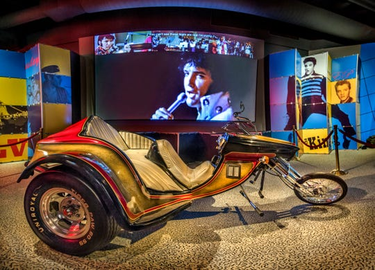 Elvis Presley's custom 1975 SuperTrike motorcycle is on display at the Rock and Roll Hall of Fame in Cleveland.