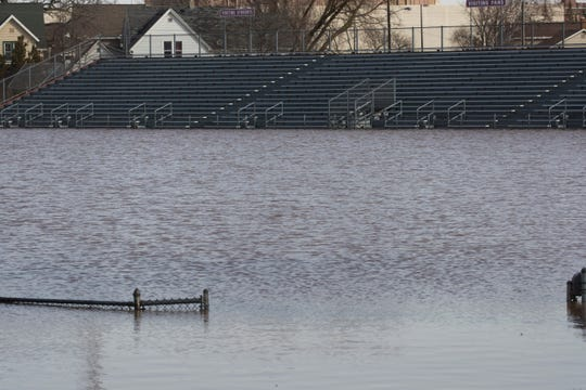 Fruth Memorial Field in Fond du Lac is flooded because of an ice jam upstream on the Fond du Lac River.