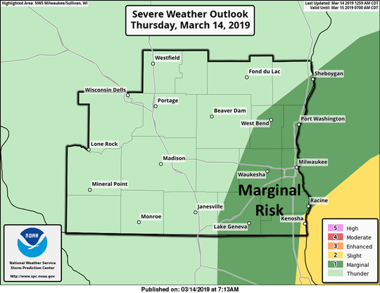 Severe thunderstorms are possible in southeast Wisconsin on Thursday, according to the National Weather Service.