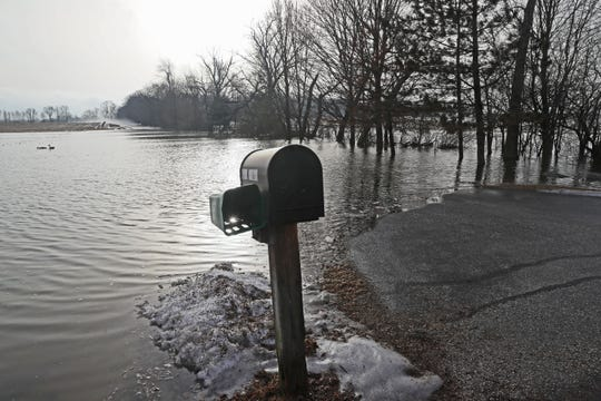 This long driveway along West Shore Drive just south of Waukesha County Road CW was flooded.