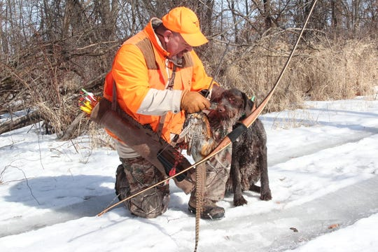 Rob Guarnaccio of Libertyville, Illinois praises Dell, his German wire-haired pointer, after the dog retrieved a pheasant Guarnaccio shot during a traditional archery hunt in Pleasant Prairie, Wisconsin.