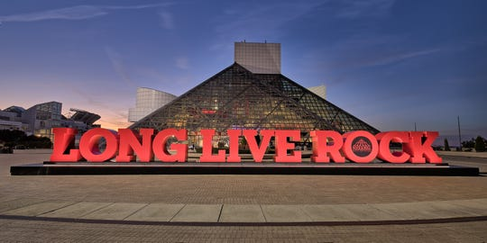 The pyramid-shaped Rock and Roll Hall of Fame is a beacon in Cleveland.