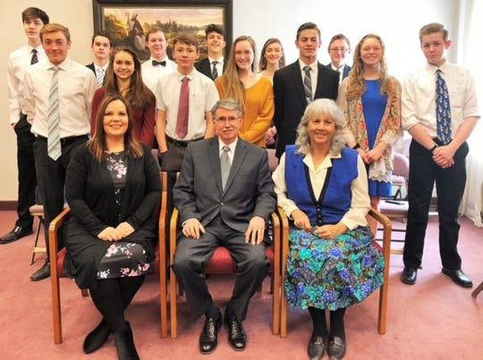 Local students from Mountain Home and Norfork public schools attend seminary each morning before attending classes. Participants are: (first row, from left) instructors Toni Rhymer,James Chambers and Kathy Chambers; (second row)Luke Darracq, Eva Maple, Thomas Lawhorn, Rachel Howald, Levi Pennington, Reagan Buckley, Joshua Stephens, (third row)Liam Russell, Saul Maple, Mike Stephens, Samuel Campos, Ellise Darracq andShadd Darracq. Not pictured:Bradly Galdino, Savannah Monroe and Noah Jones.