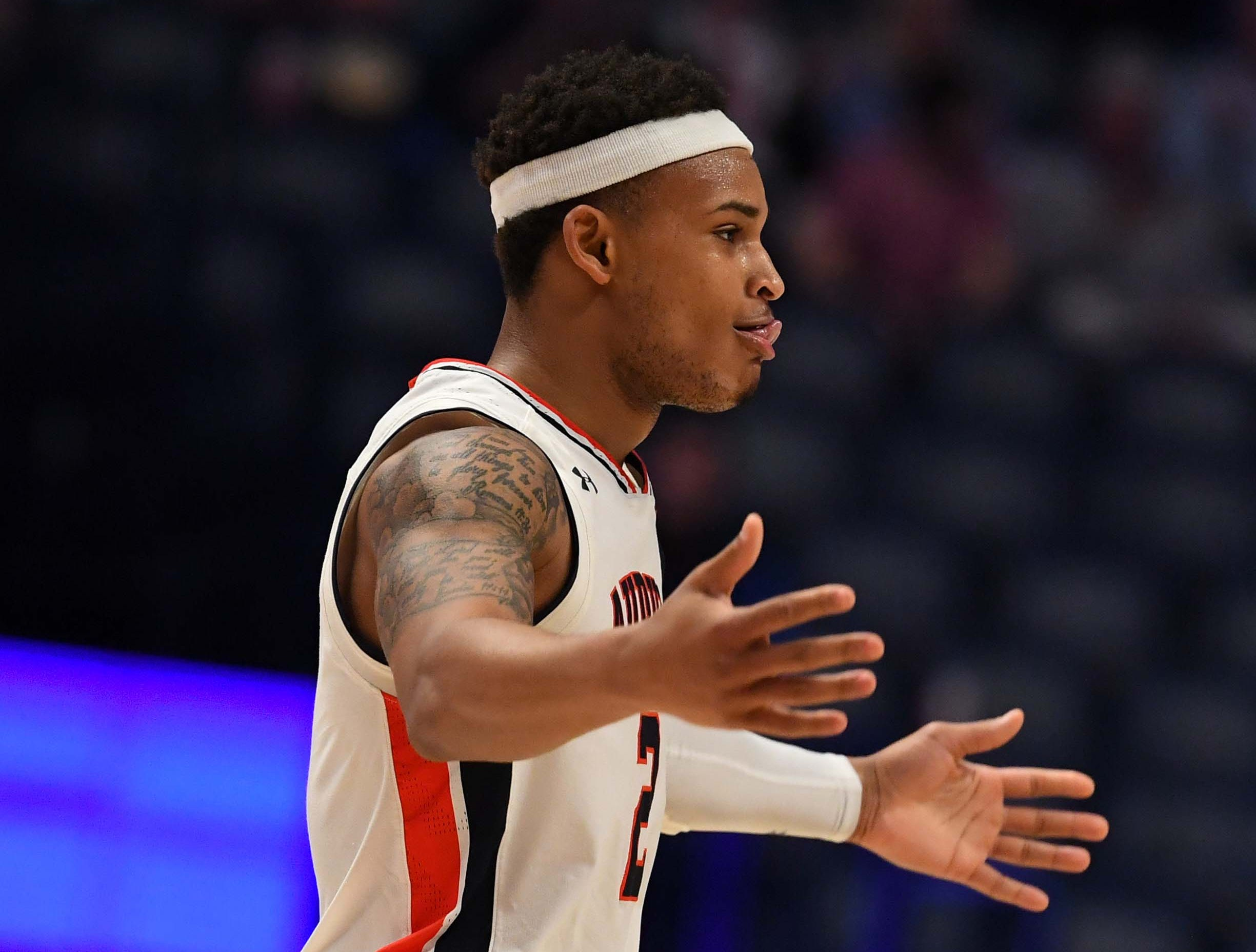 Mar 14, 2019; Nashville, TN, USA; Auburn Tigers guard Bryce Brown (2) celebrates after a basket during the second half against the Missouri Tigers of the SEC conference tournament at Bridgestone Arena. Mandatory Credit: Christopher Hanewinckel-USA TODAY Sports