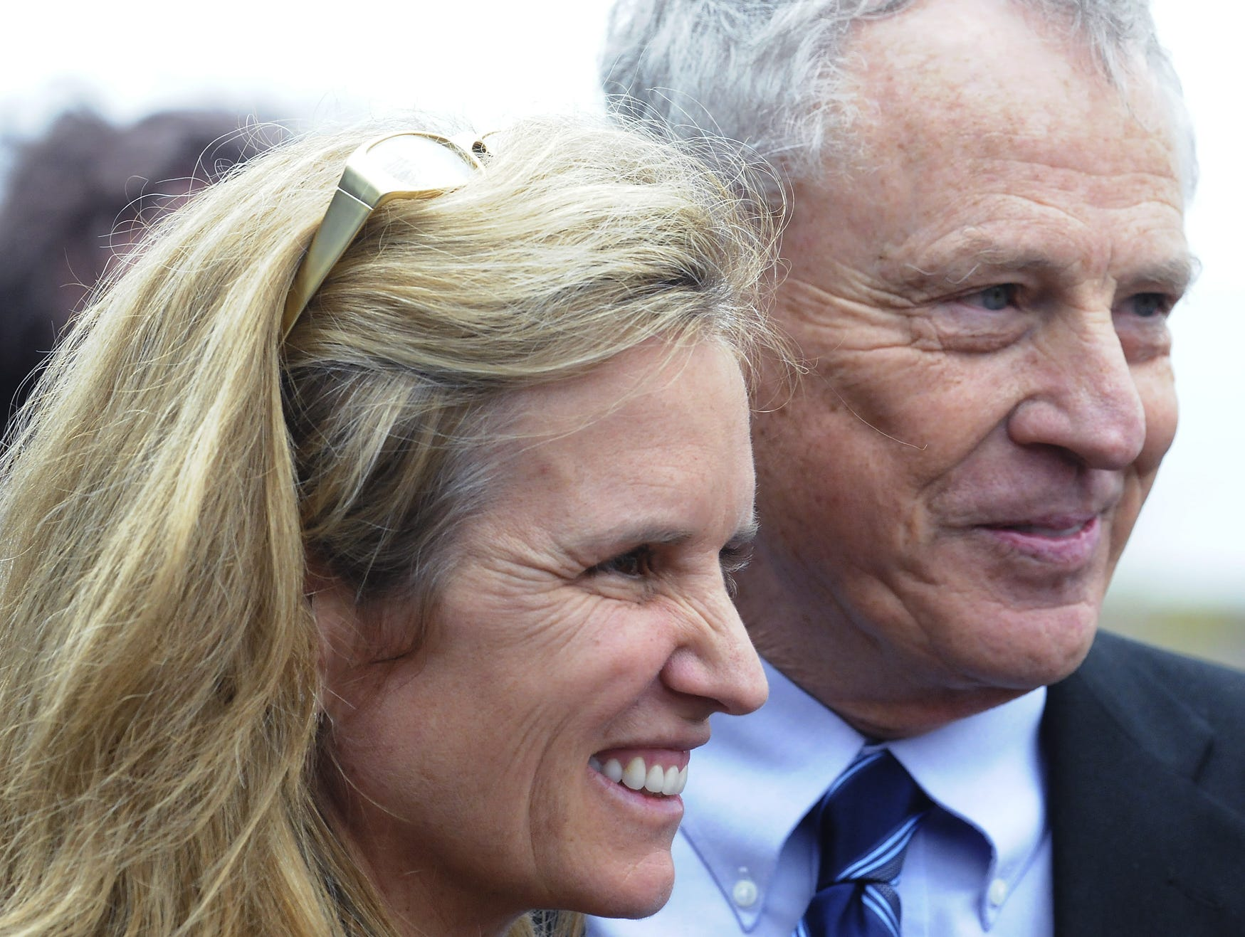 Morris Dees, co-founder of the Southern Poverty Law Center, right, stands with Kerry Kennedy, human rights activist and daughter of Robert Kennedy, at the Civil Rights Memorial in Montgomery, Ala. during a tour by a congressional delegation on Saturday March 5, 2011. The group is touring civil rights locations and will attend the annual Bloody Sunday observance in Selma, Ala. on Sunday March 6, 2011. (Montgomery Advertiser, Mickey Welsh)