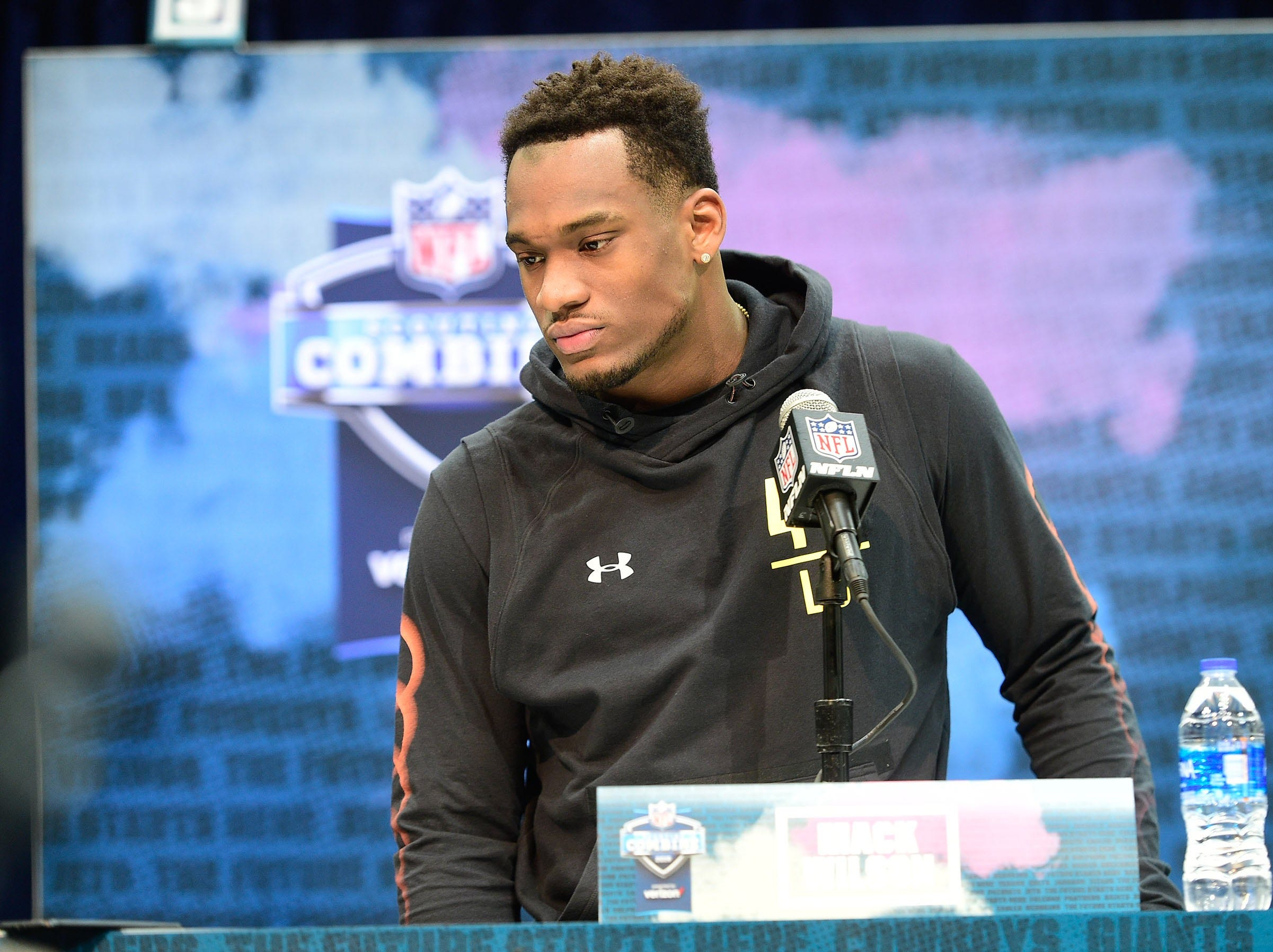 Mar 2, 2019; Indianapolis, IN, USA;Alabama linebacker Mack Wilson (LB42)  talks to the media during the 2019 NFL Combine at Indianapolis Convention Center. Mandatory Credit: Thomas J. Russo-USA TODAY Sports