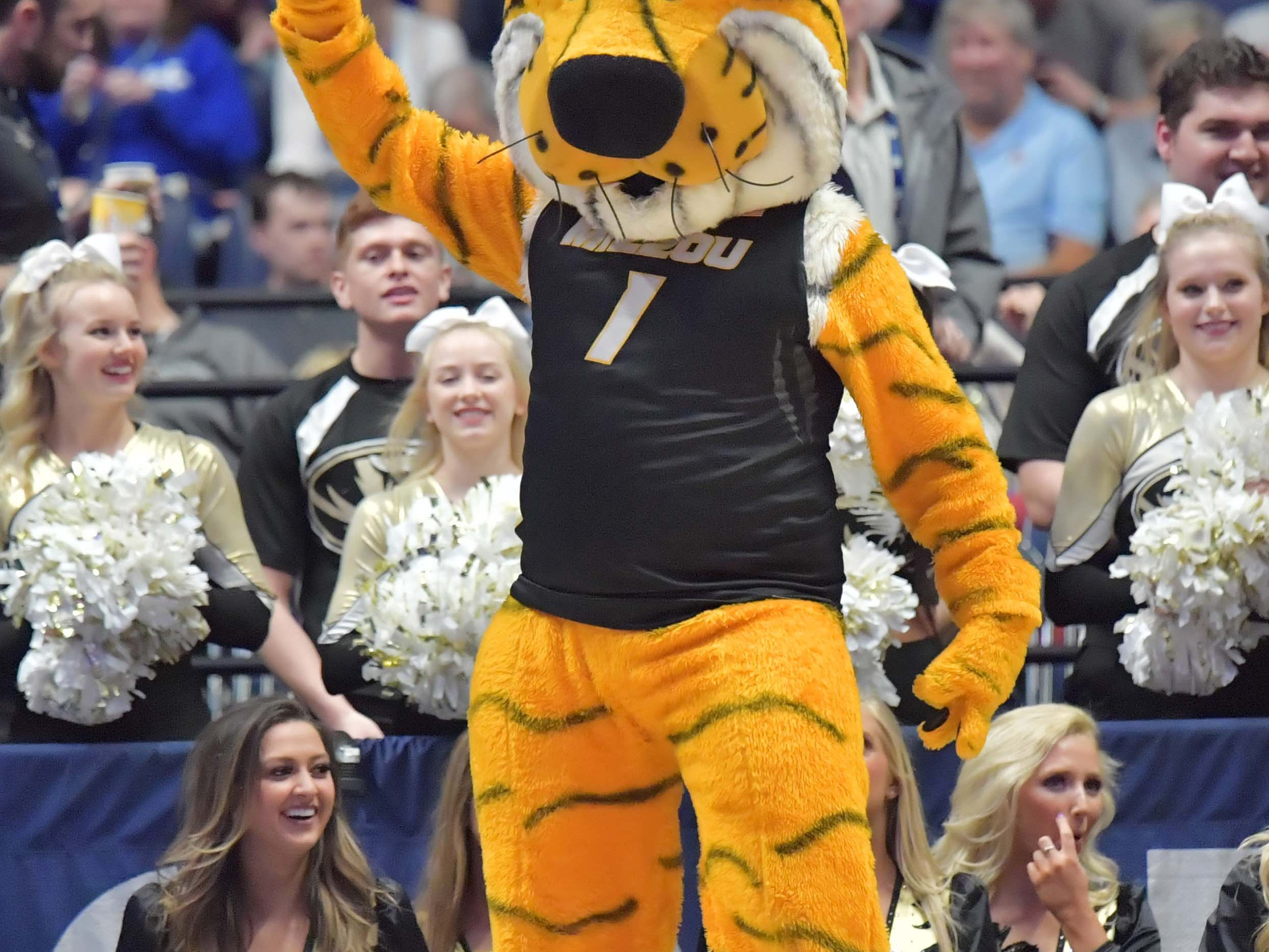 Mar 14, 2019; Nashville, TN, USA; Missouri Tigers mascot poses in the first half against the Auburn Tigers in the SEC conference tournament at Bridgestone Arena. Mandatory Credit: Jim Brown-USA TODAY Sports