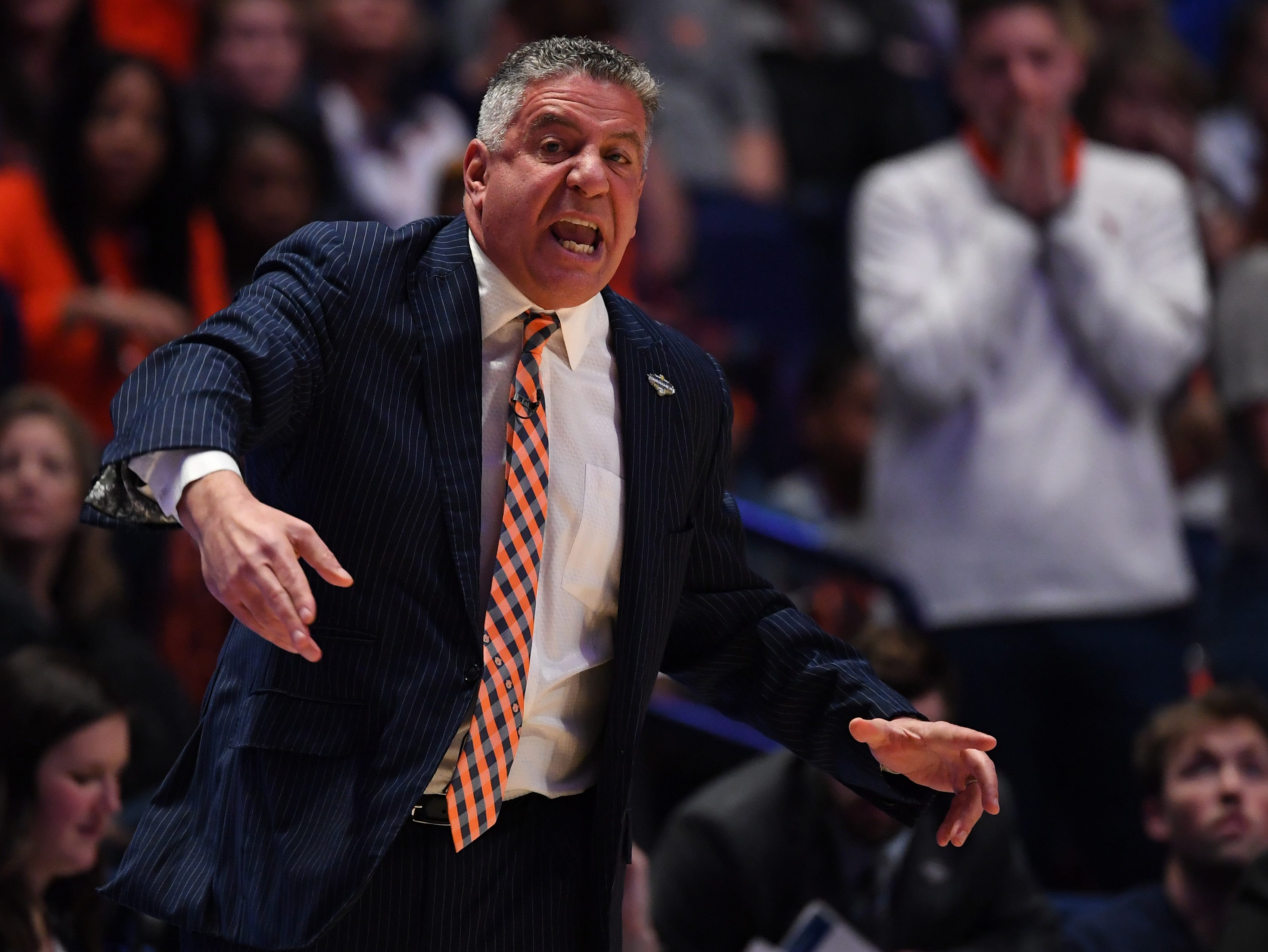 Mar 14, 2019; Nashville, TN, USA; Auburn Tigers head coach Bruce Pearl yells from the sidelines against the Missouri Tigers during the first half of the SEC conference tournament at Bridgestone Arena. Mandatory Credit: Christopher Hanewinckel-USA TODAY Sports