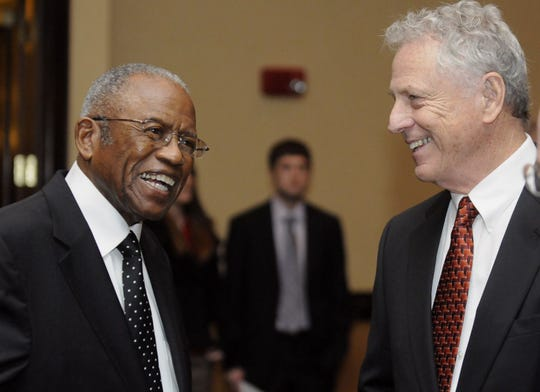 Attorneys Fred Gray and Morris Dees attend a dinner to kick off Faulkner University's Fred Gray Civil Rights Symposium on Thursday, Feb. 9, 2012, at the Embassy in Montgomery. (Montgomery Advertiser, Amanda Sowards)