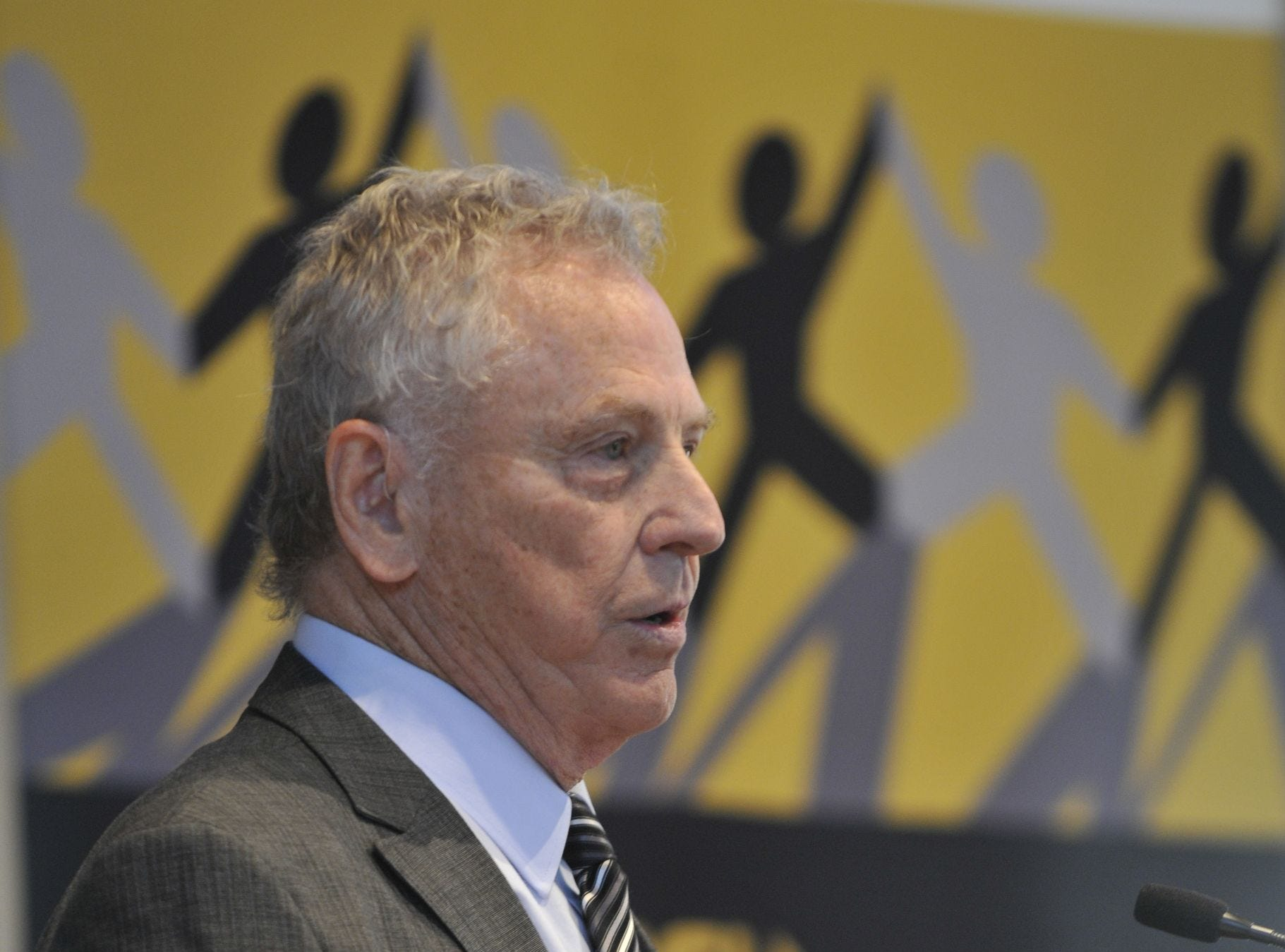 Morris Dees speaks at Alabama State University's Bridge Builders Breakfast at the RSA Activity Center on Thursday, Sept. 20, 2012 in Montgomery, Ala.. (Lloyd Gallman, Montgomery Advertiser)