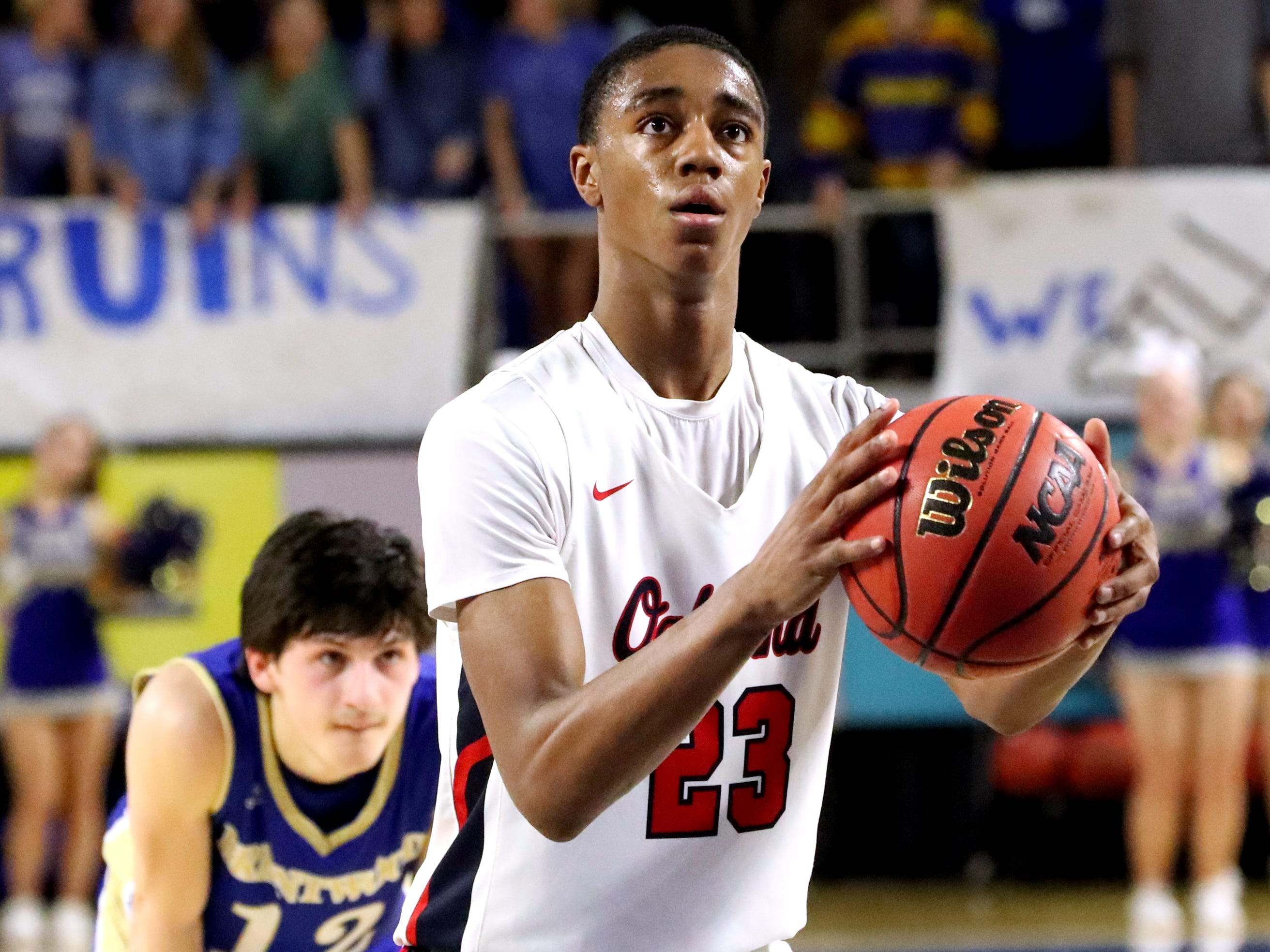 Oakland's Dorian Anderson (23) shoots a free throw during the quarterfinal round of the TSSAA Class AAA Boys State Tournament against Brentwood, on Thursday, March 14, 2019, at Murphy Center in Murfreesboro, Tenn.