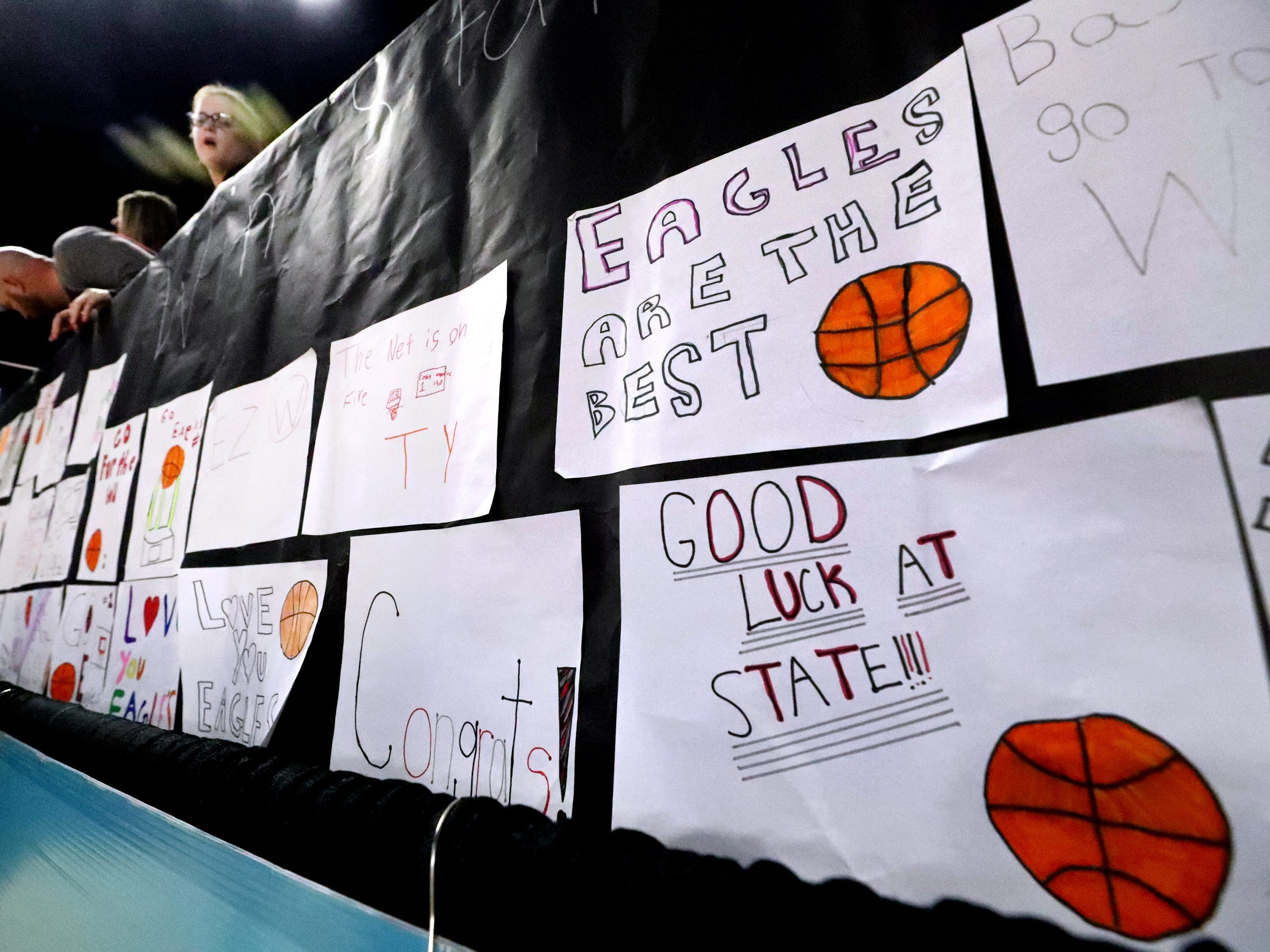The Elementary students at Eagleville sent posters for the Eagleville boys basketball team as they take on Cosby during the quarterfinal round of the TSSAA Class A Boys State Tournament, on Thursday, March 14, 2019, at Murphy Center in Murfreesboro, Tenn.