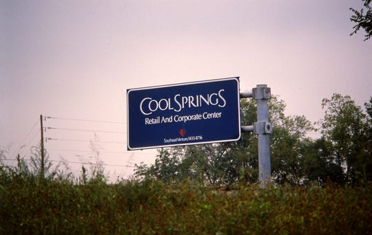 A sign in September 1988 shows the site where the 1.4 million-square-foot CoolSprings Galleria would be built.