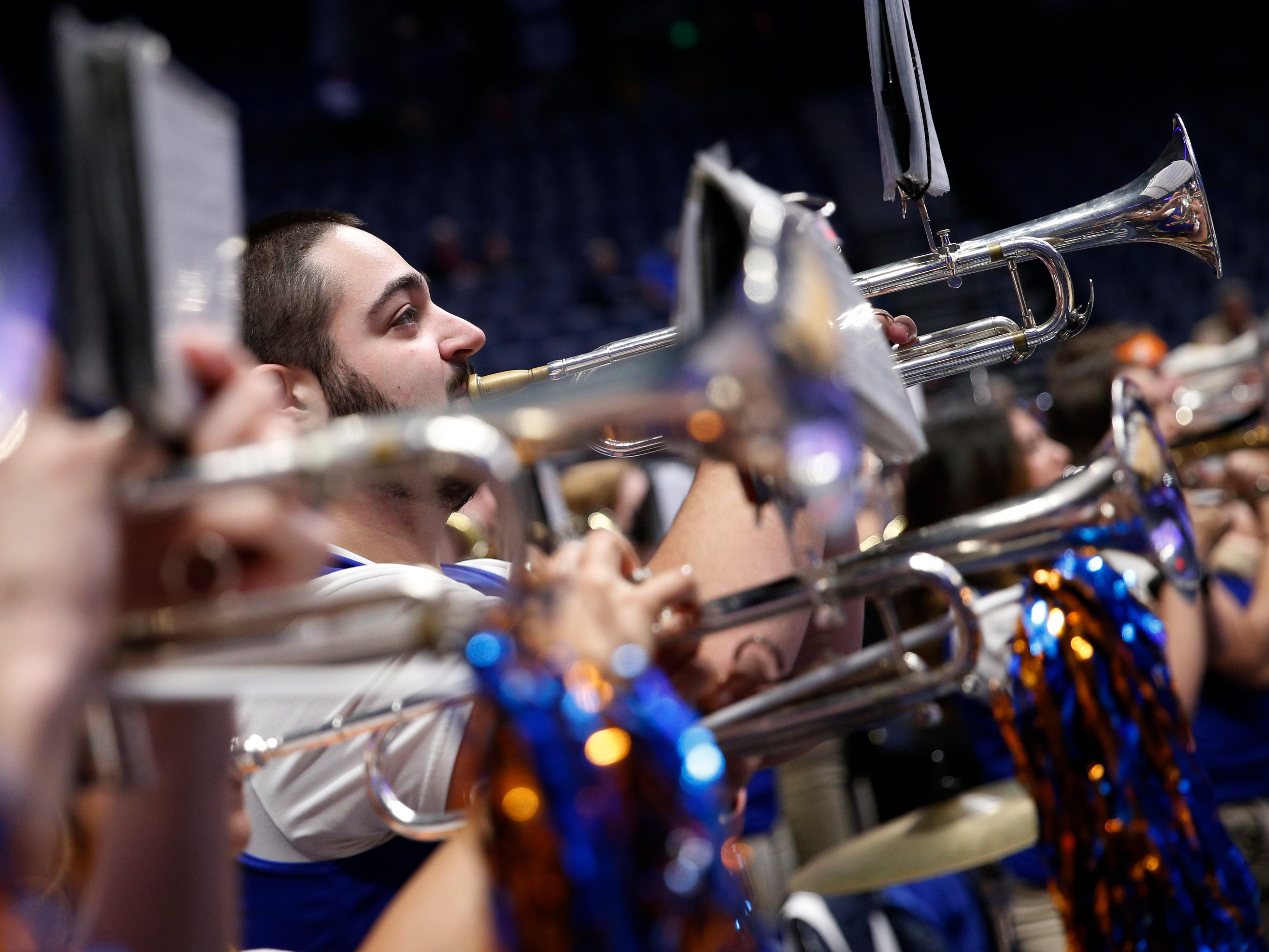 The Florida band plays before the SEC Men's Basketball Tournament game at Bridgestone Arena in Nashville, Tenn., Thursday, March 14, 2019.