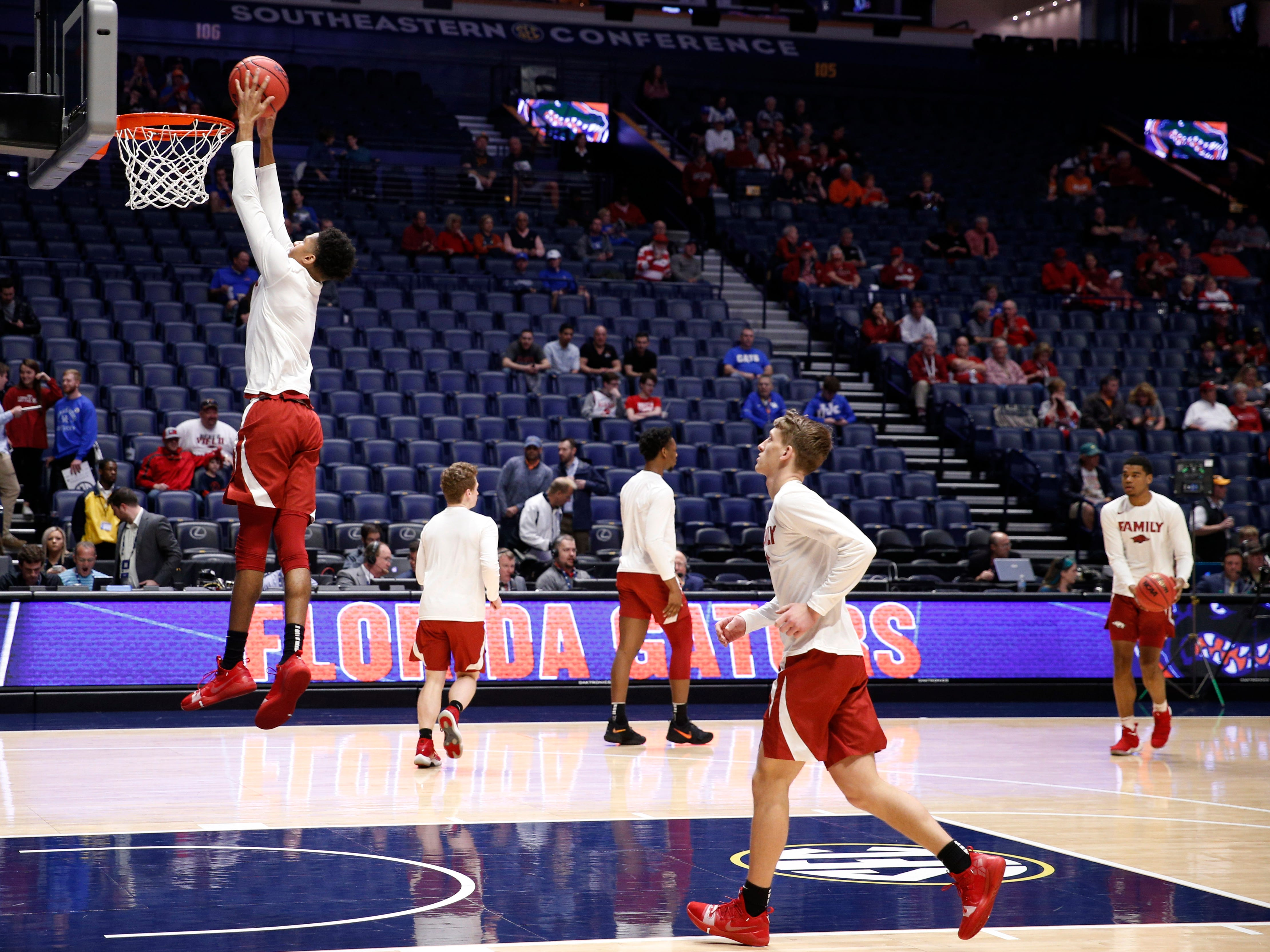 Arkansas warms up before the SEC Men's Basketball Tournament game at Bridgestone Arena in Nashville, Tenn., Thursday, March 14, 2019.