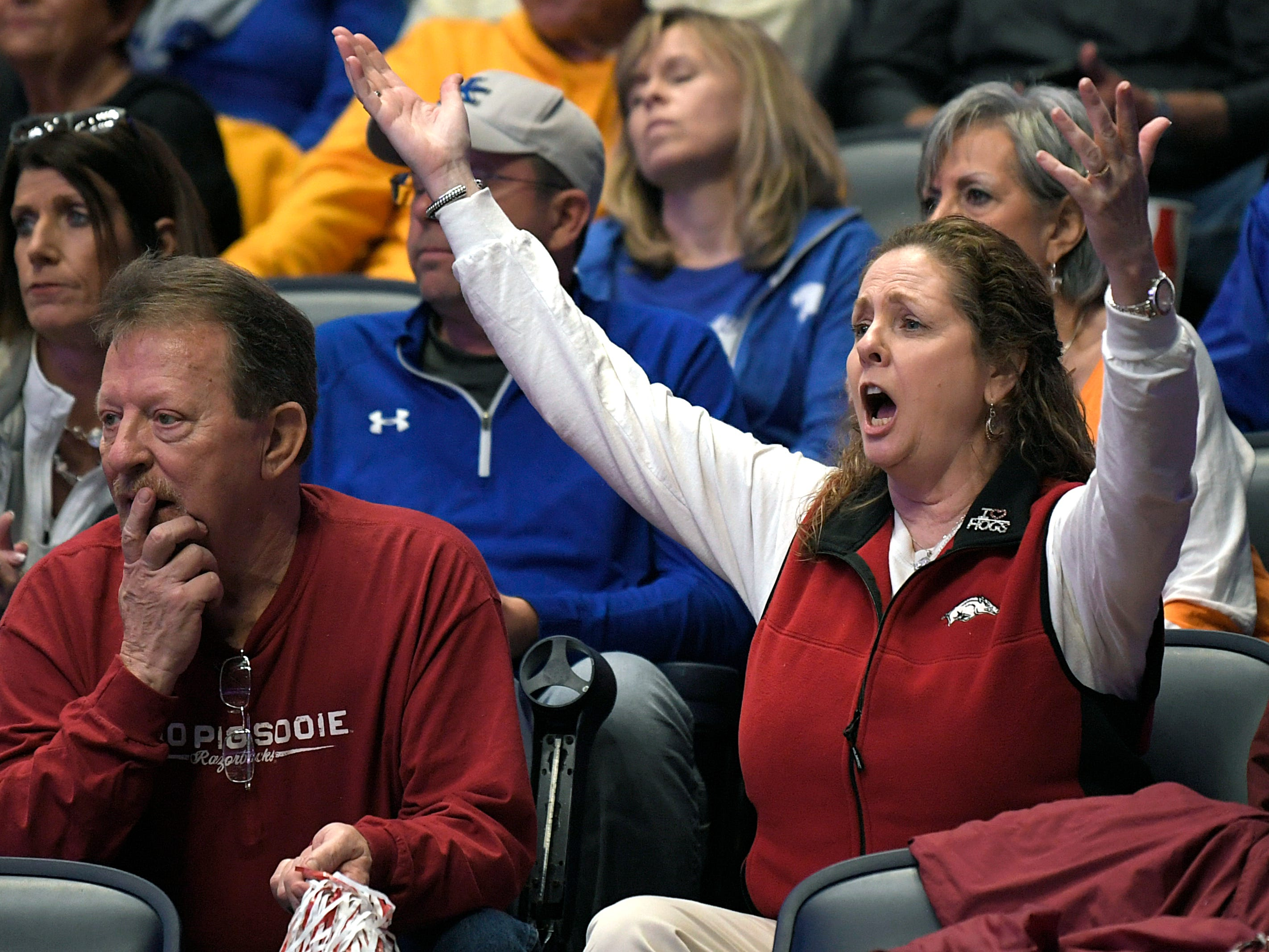 An Arkansas fans reacts to a play during the SEC Mens Basketball Tournament in Nashville on Thursday, March 14, 2019.