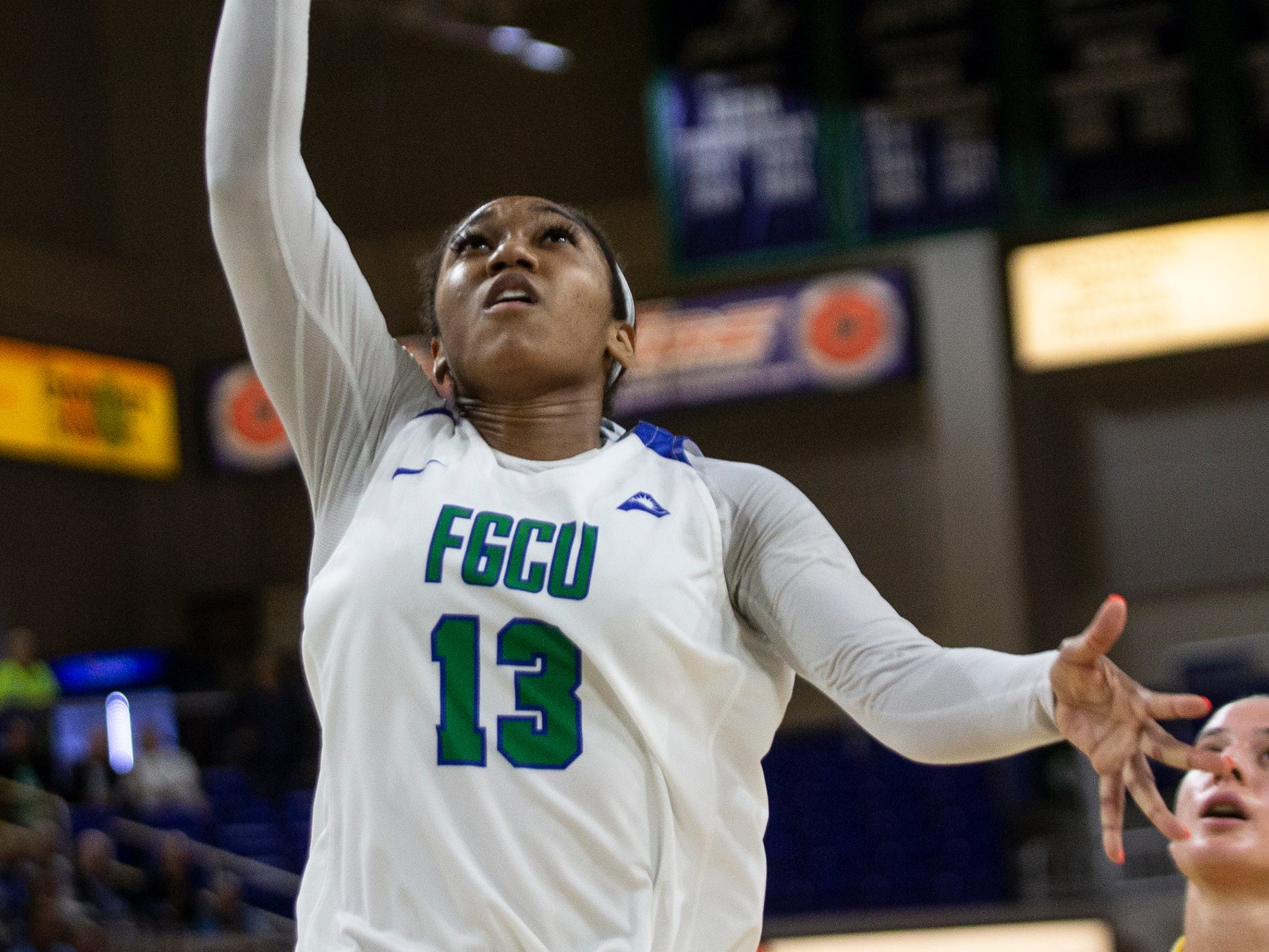 Florida Gulf Coast University's Kerstie Phills goes for a layup game against Kennesaw State, Wednesday, March 13, 2019, at Florida Gulf Coast University's Alico Arena.
