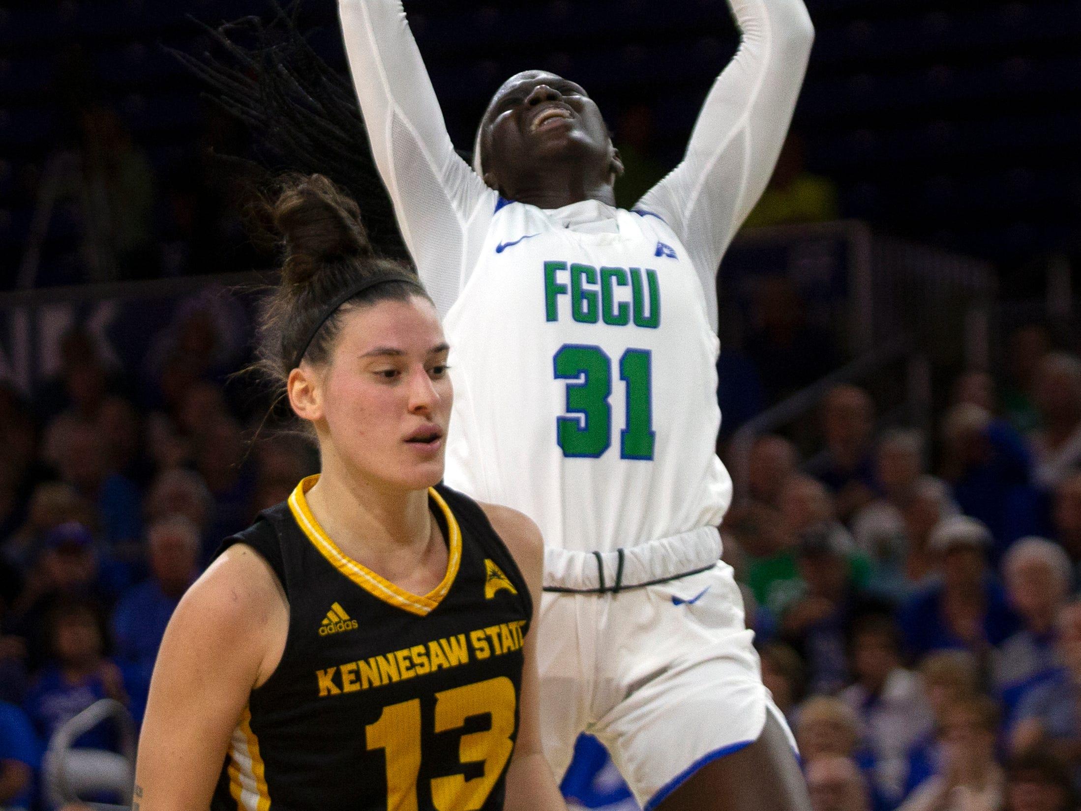 Florida Gulf Coast University's Nasrin Ulel goes for a layup against Kennesaw State, Wednesday, March 13, 2019, at Florida Gulf Coast University's Alico Arena.