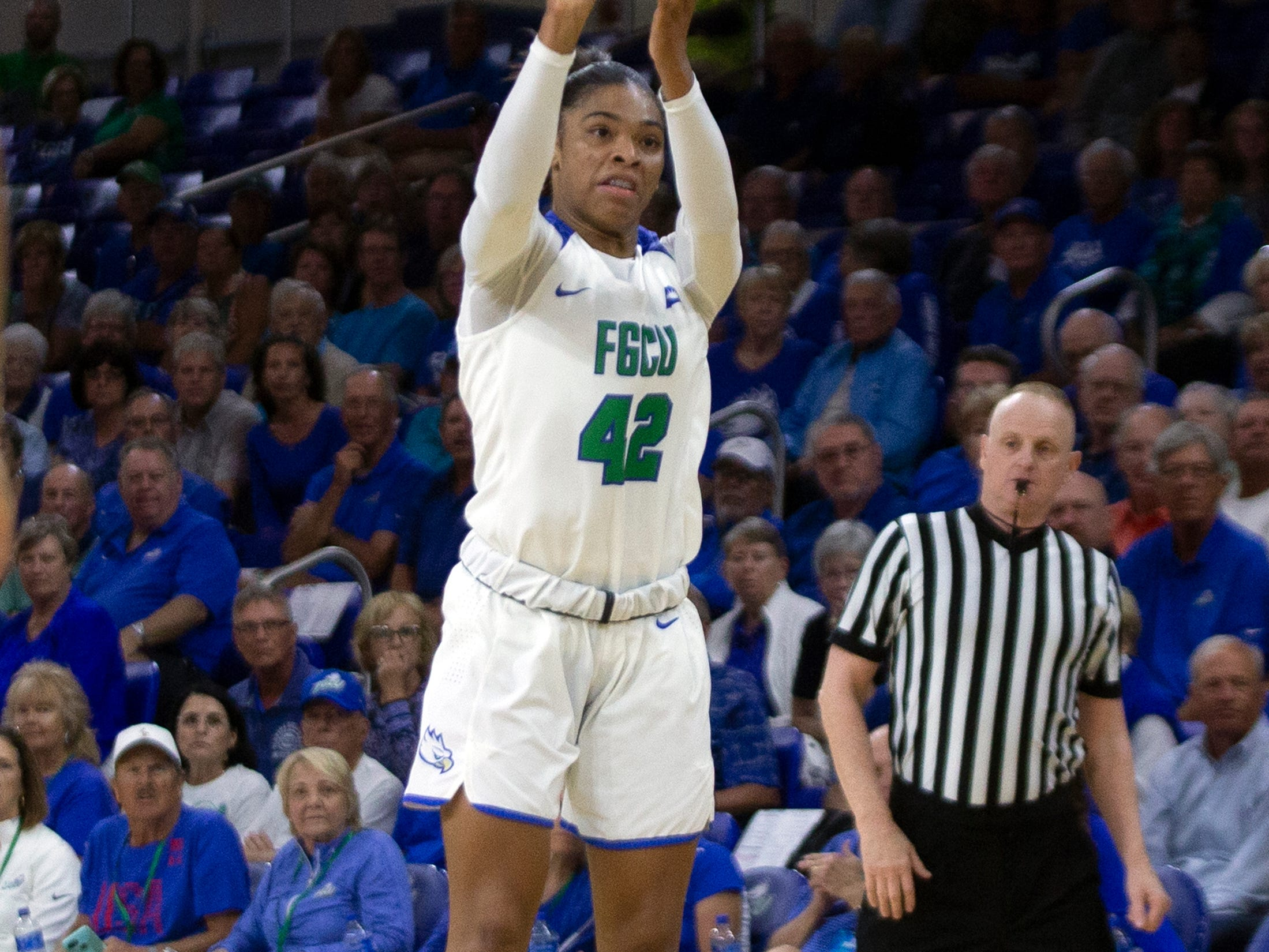 Florida Gulf Coast University's Tytionia Adderly attempts a 3-pointer against Kennesaw State, Wednesday, March 13, 2019, at Florida Gulf Coast University's Alico Arena.