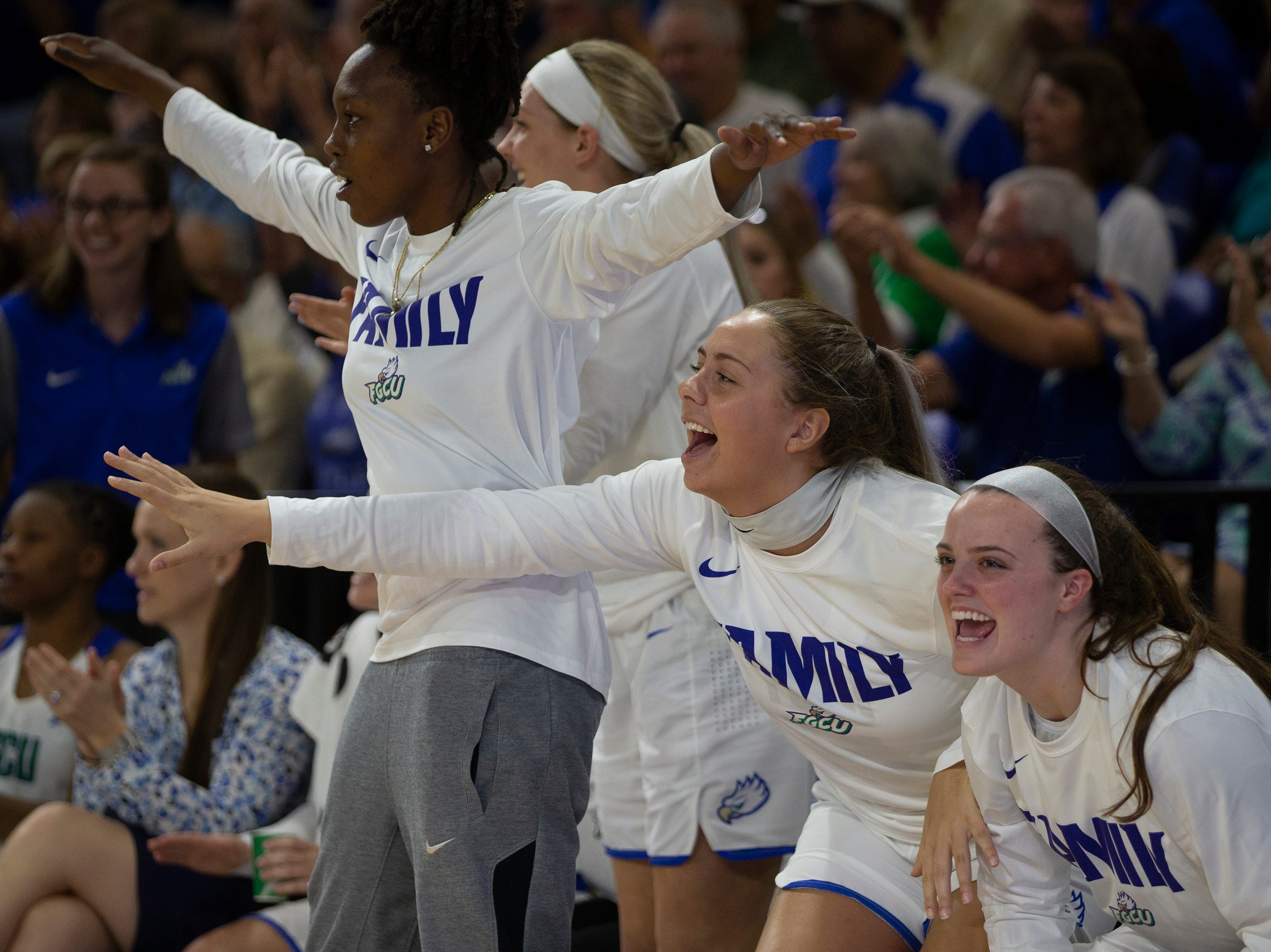 Florida Gulf Coast University bench celebrate a basket against Kennesaw State, Wednesday, March 13, 2019, at Florida Gulf Coast University's Alico Arena.