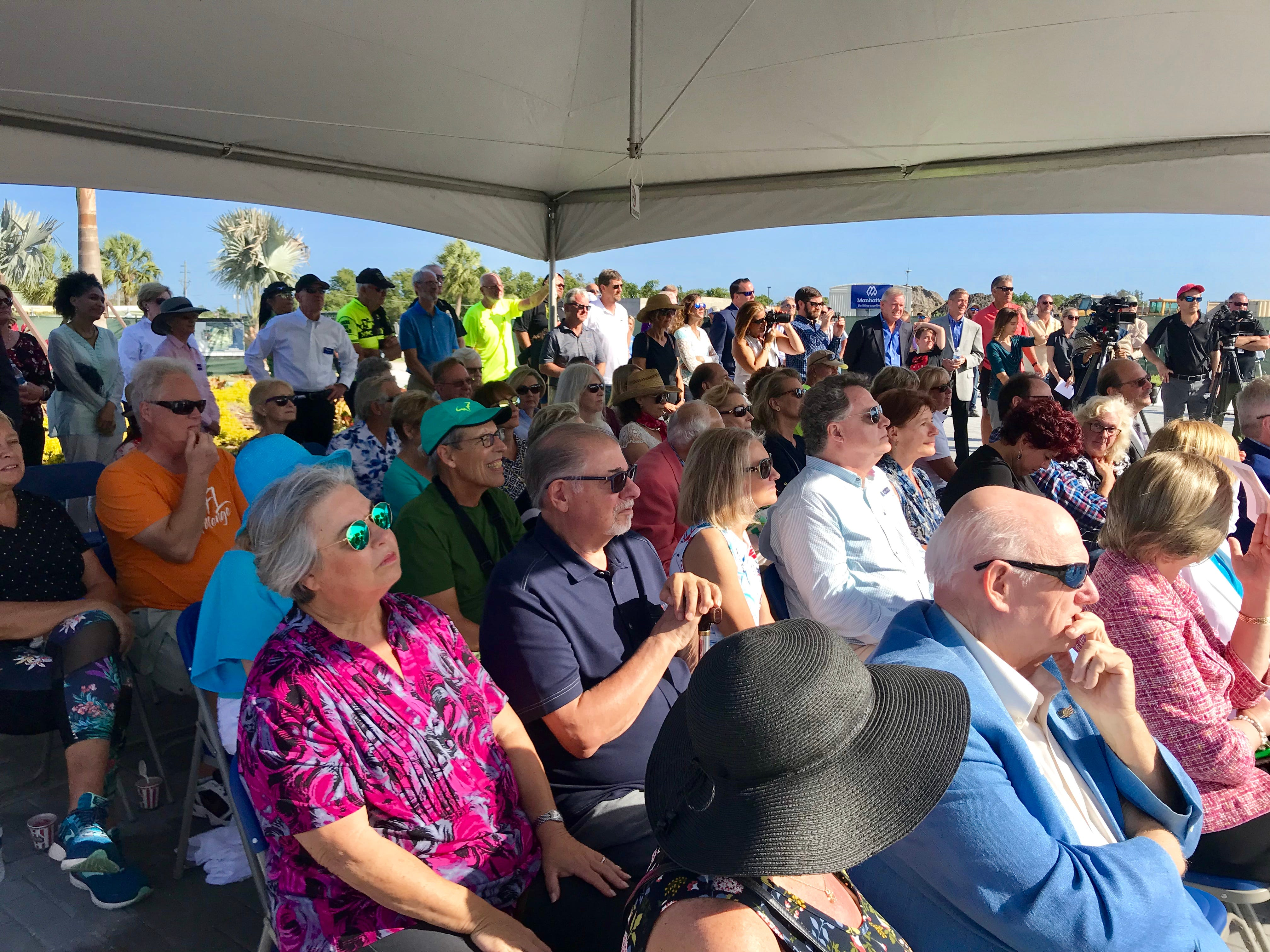Community members attend the Baker Park dedication ceremony on Thursday, March 14, 2019. The first portion of Baker Park opened on March 14. The rest of the park is set to open in October.