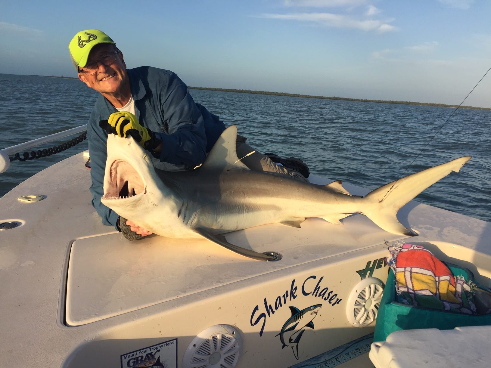 John Budnick with a 5 1/2-foot blacktip shark caught, tagged and released off Marco Island using ladyfish for bait.