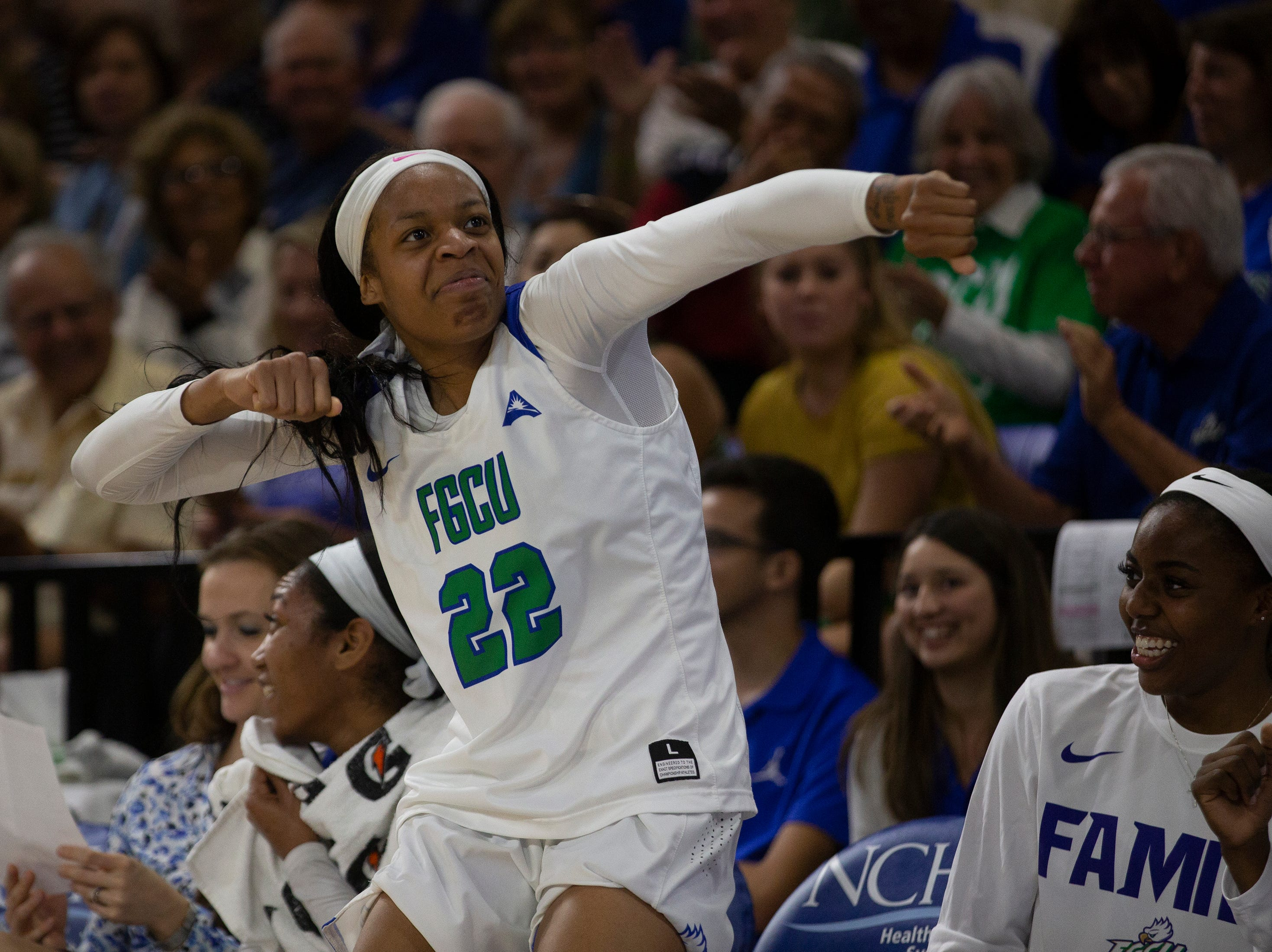 Florida Gulf Coast University's Destiny Washington dances after a time out against Kennesaw State, Wednesday, March 13, 2019, at Florida Gulf Coast University's Alico Arena.