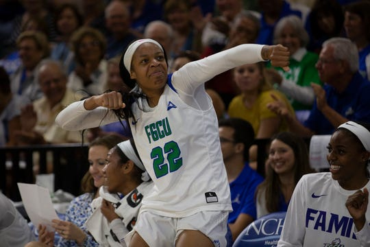 Florida Gulf Coast University's Destiny Washington dances after a timeout against Kennesaw State on Wednesday at Alico Arena.