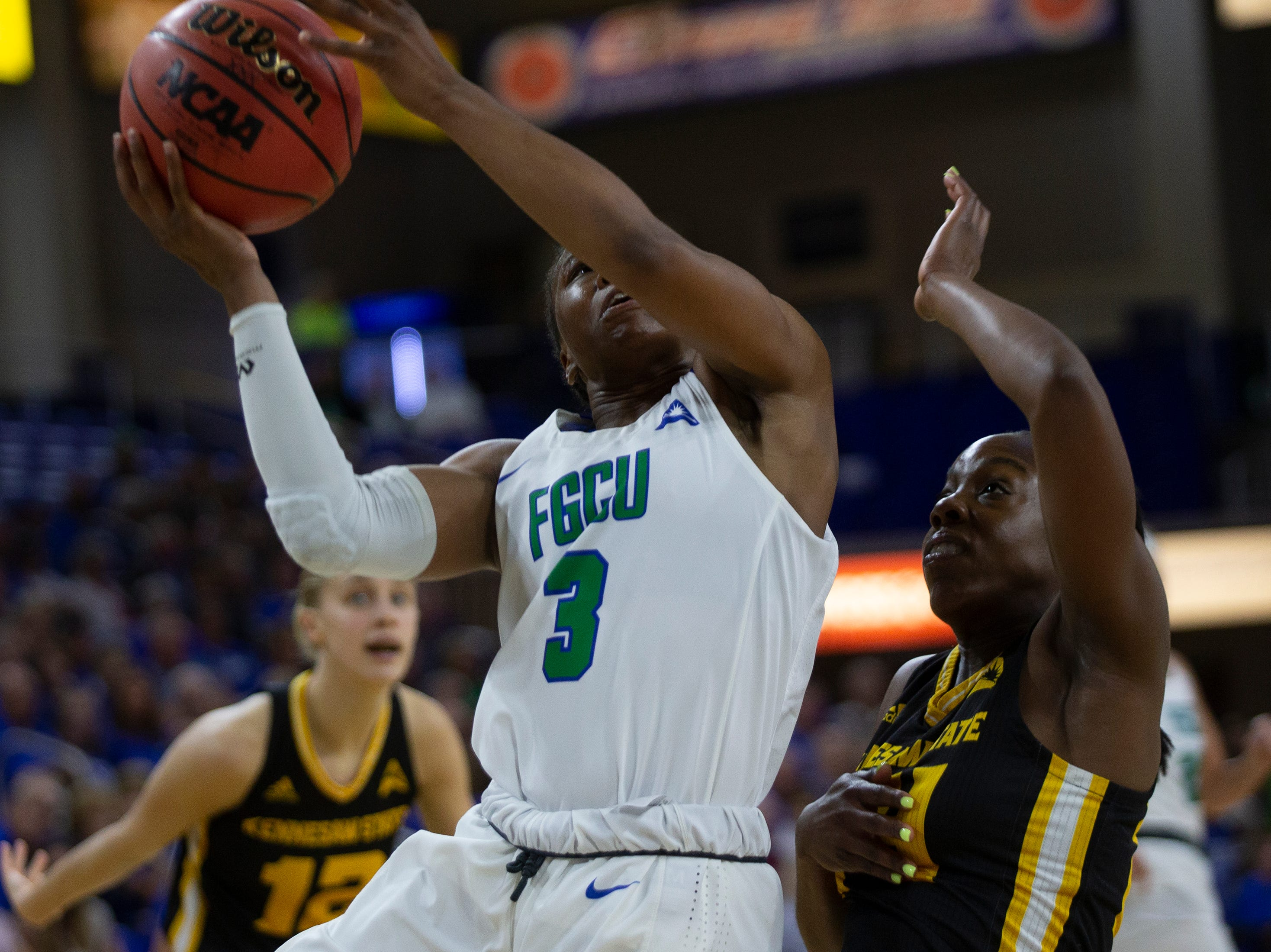 Florida Gulf Coast University's Keri Jewett-Giles attempts a shot game against Kennesaw State, Wednesday, March 13, 2019, at Florida Gulf Coast University's Alico Arena.