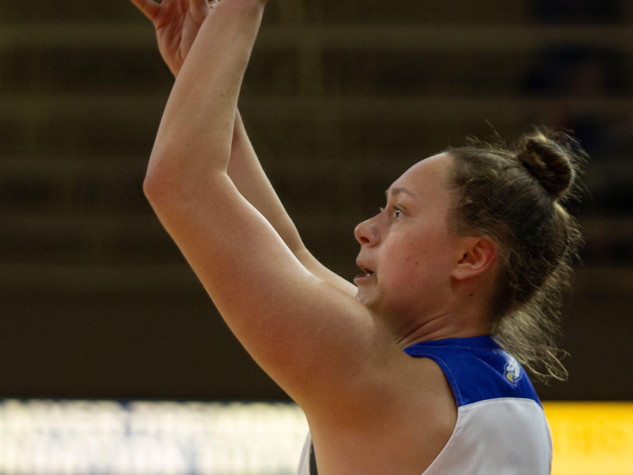 Florida Gulf Coast University's Alyssa Blair shoots the ball against Kennesaw State, Wednesday, March 13, 2019, at Florida Gulf Coast University's Alico Arena.