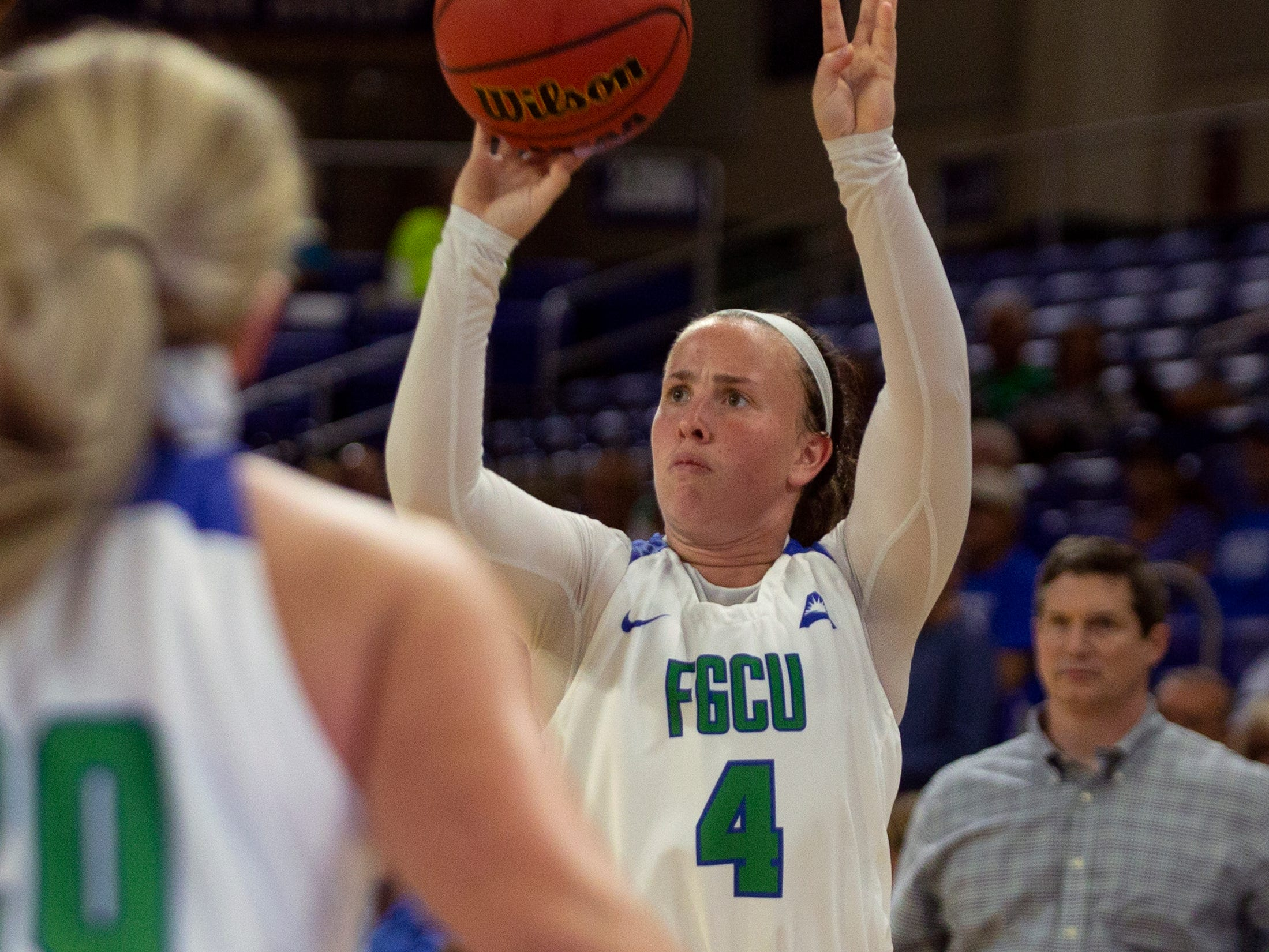 Florida Gulf Coast University's Chandler Ryan takes an open shot against Kennesaw State, Wednesday, March 13, 2019, at Florida Gulf Coast University's Alico Arena.