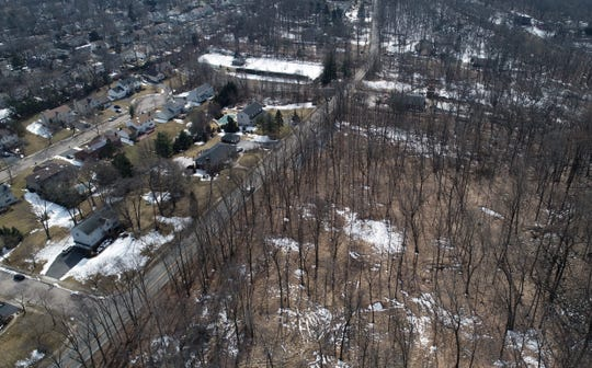 Aerial view of the wooded property on Colfax Road in Wayne where a Franklin Lakes doctor had proposed to construct a pingpong training facility. The doctor withdrew the application on Aug. 8, 2019.