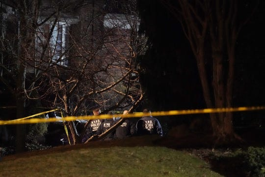 Police at the scene where reputed Gambino mob boss Frank Cali was fatally shot on Hilltop Terrace in Staten Island, New York, around 9:20 p.m. on March 13, 2019.