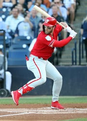 Mar 13, 2019; Tampa, FL, USA; Philadelphia Phillies right fielder Bryce Harper (3) at bat during the first inning against the New York Yankees at George M. Steinbrenner Field.