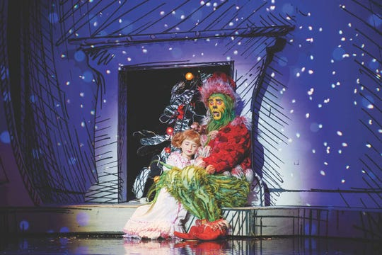 "Mackenzie Jane Mercer as Cindy Lou Who and Gavin Lee as The Grinch in ""Dr. Seuss' How the Grinch Stole Christmas! The Musical"""