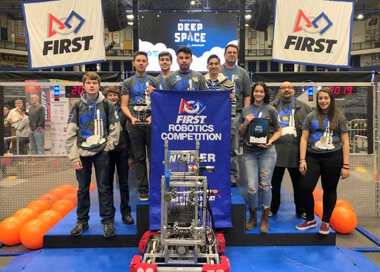 The Deming High Thundercats robotics team helped capture first place at the FIRST in Texas Robotics competition in Amarillo, TX.