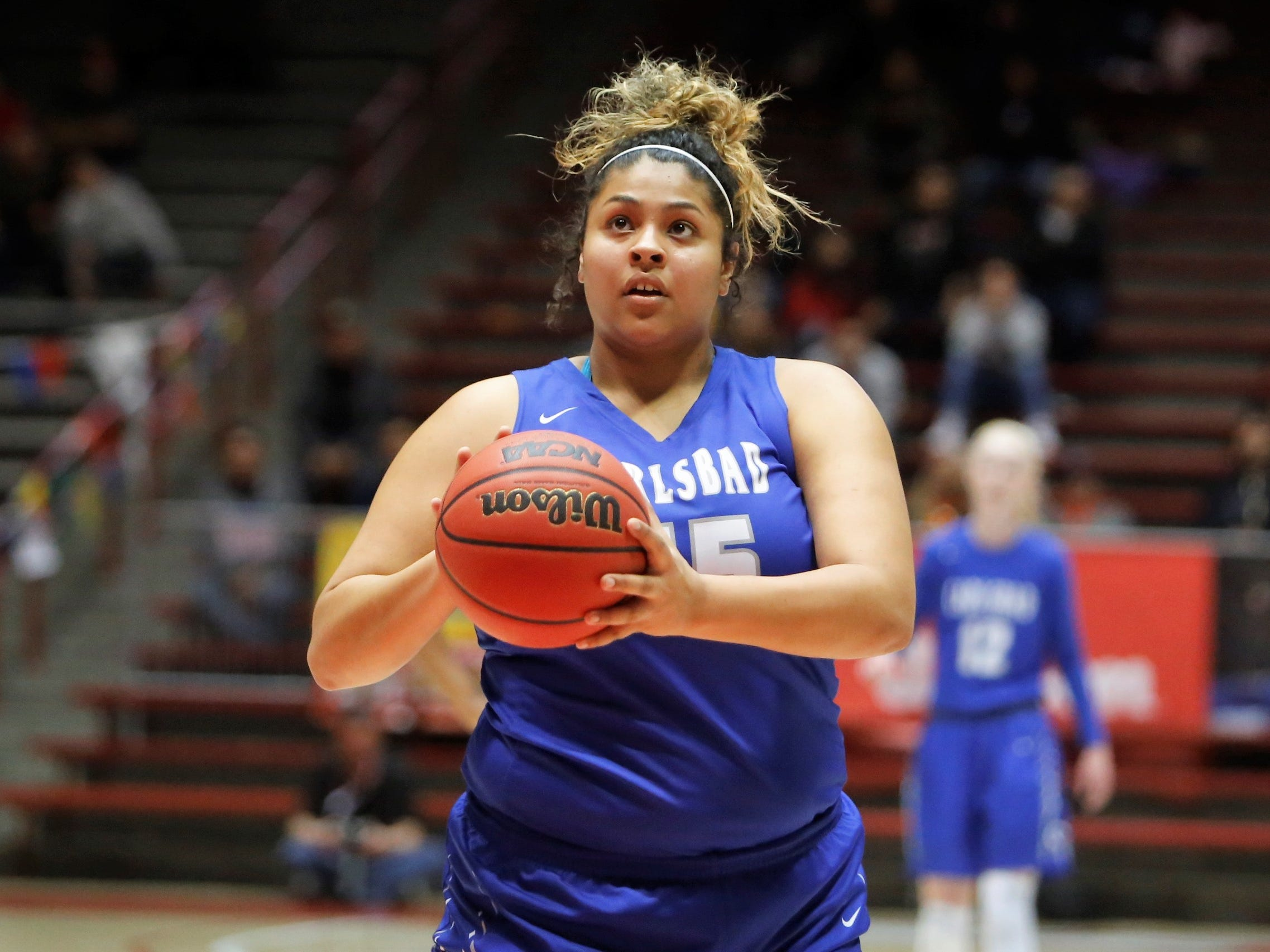 Carlsbad's Kaliyah Montoya shoots a free throw against Hobbs during Thursday's 5A state semifinals at Dreamstyle Arena in Albuquerque.