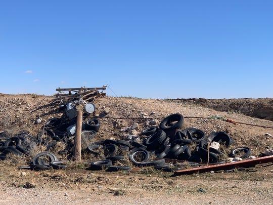 A downed power pole is seen near Dexter, New Mexico. A strong tornado struck the farming community near Artesia Tuesday.