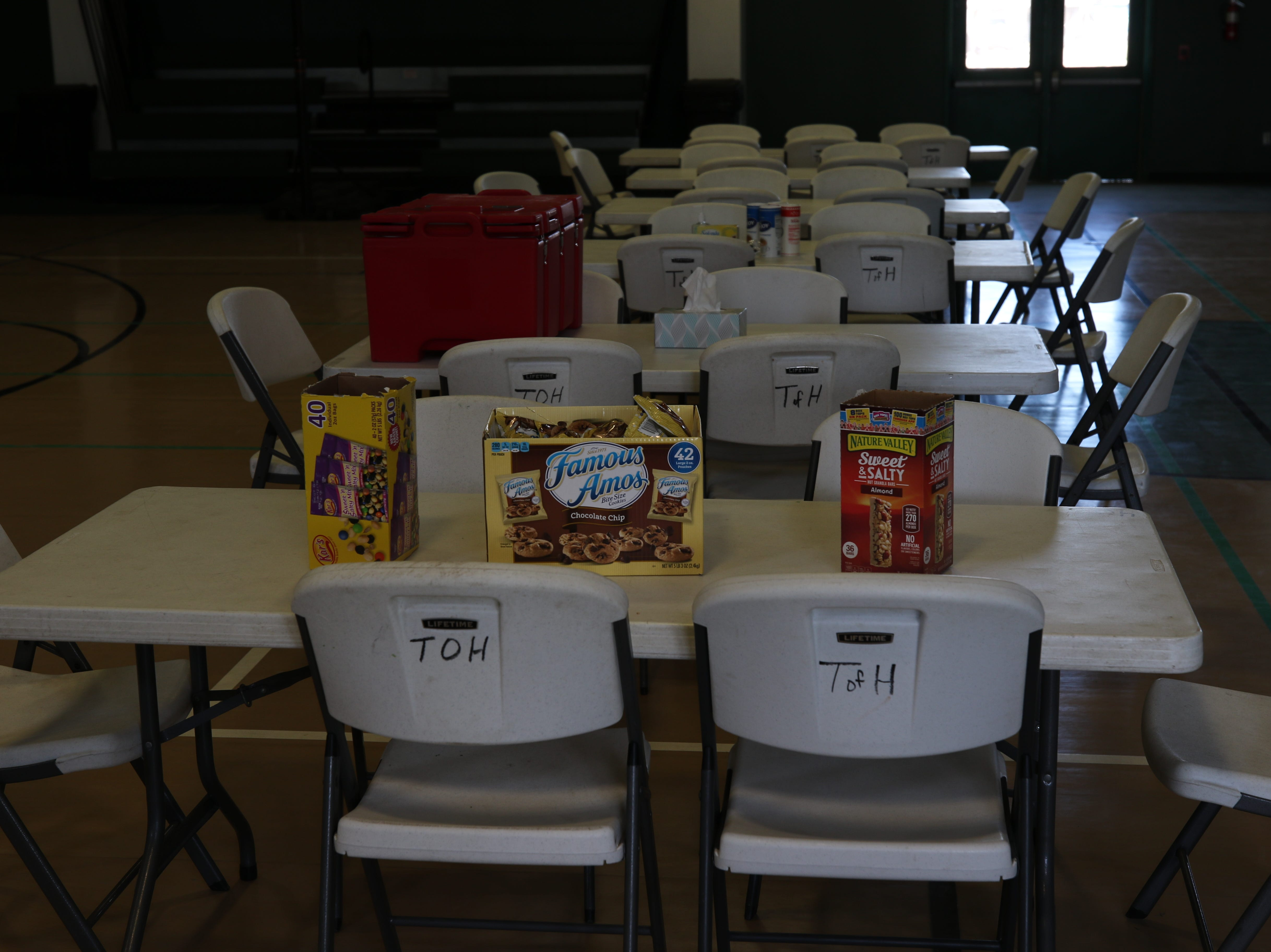 Food waits for evacuees at a Red Cross shelter in Hagerman, New Mexico Wednesday.