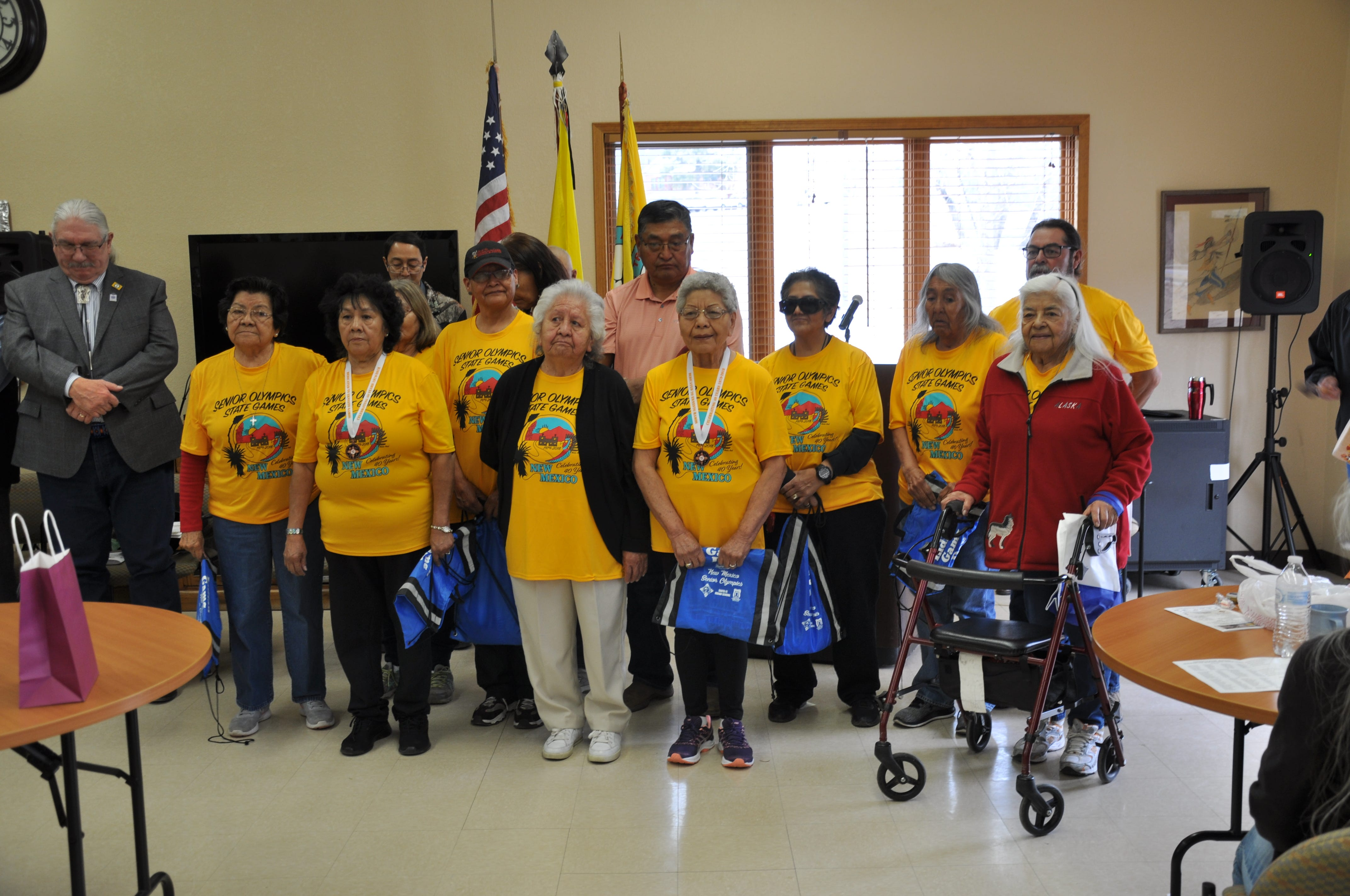 Participants of the Senior Olympics from the Mescalero Apache Tribe during the torch relay event this month.