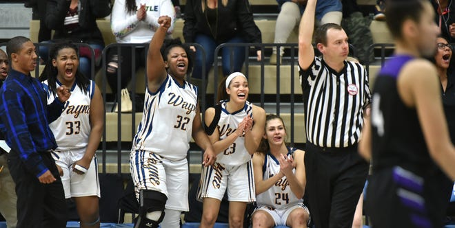 "As a referee makes the signal to count a Zebra hoop (with a foul to come) - the Wayne Memorial bench erupts in cheers - with even Coach Jarvis Mitchell, far left, making the ""count it"" gesture."
