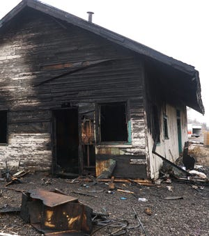 A view of the north side of the Novi train depot shows damage that occured during an early morning fire on March 14, 2019. The building lies just below the Grand River Ave. overpass west of Novi Road.