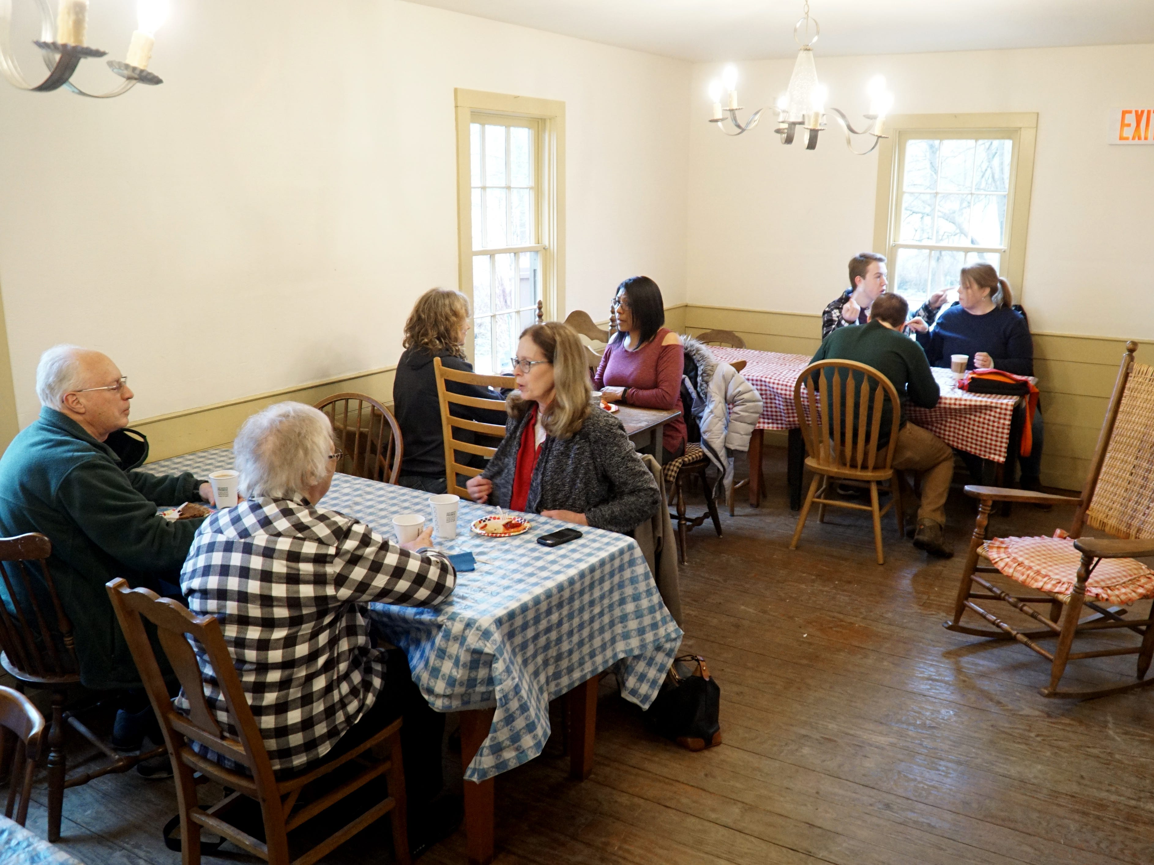 Visitors gather in Mill Race's Cady Inn on March 14 to enjoy some pie.